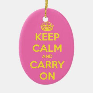 Carry On Bubblegum and Sunshine Ceramic Ornament