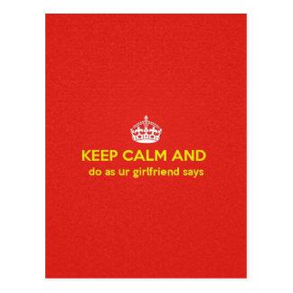 carry on do as ur girlfriends says. postcard