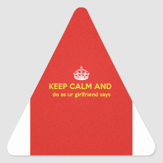 carry on do as ur girlfriends says. triangle sticker
