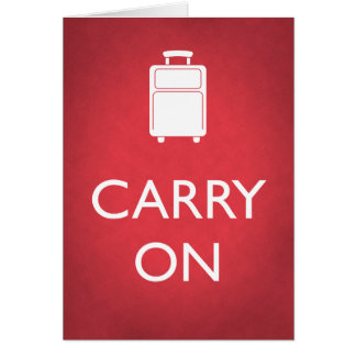 CARRY ON - Luggage - Blank Inside Card - Red