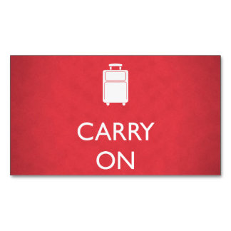 CARRY ON - Luggage - Funny Red Business Card Magnet