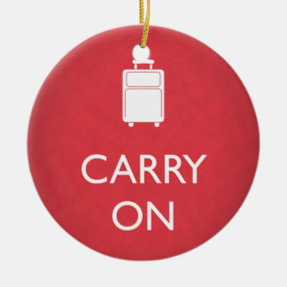 CARRY ON - Luggage - Funny Red Ceramic Ornament