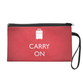 CARRY ON (Luggage) Funny Red Wristlet Bag