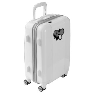 Carry On, White, White - Summertime Hippo Luggage