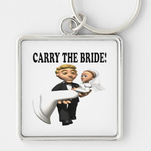 Carry The Bride 2 Silver-Colored Square Keychain