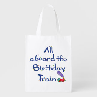 Carry the Fun All Aboard the Birthday Train Grocery Bag