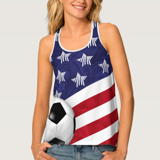 carrying a soccer ball red white blue USA women's Tank Top