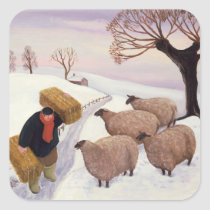 Carrying Hay to the Sheep in Winter Square Sticker