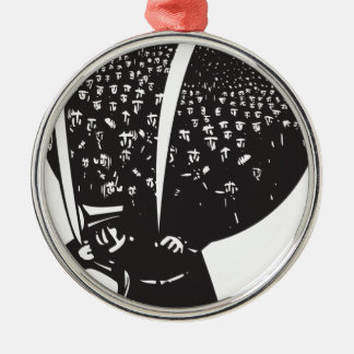 Carrying refugees round metal christmas ornament