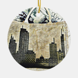 Carrying the city ceramic ornament