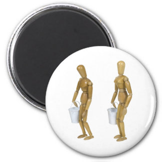 Carrying White Pails 2 Inch Round Magnet