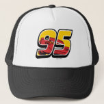 "Cars 3 | Lightning McQueen Go 95 Trucker Hat<br><div class=""desc"">Cars 3: Blinded by a new generation of blazing fast racers, the legendary Ligntning McQueen is suddenly pushed out of the sport he loves. To get back in the game, he will need the help of an eager young race technician who has her own plan to win, inspiration from the...</div>"