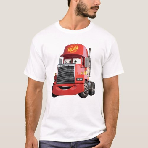 "Cars 3 | Mack T-Shirt.Style: Men's Basic T-Shirt Comfortable, casual and loose fitting, our heavyweight t-shirt will easily become a closet staple. Made from 100% cotton, it wears well on anyone. We've double-needle stitched the bottom and sleeve hems for extra durability.  Size & Fit  Model is 6'1"" and is wearing a medium Standard fit Fits true to size"