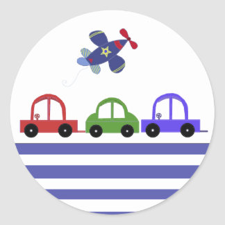 Cars and an Airplane Classic Round Sticker