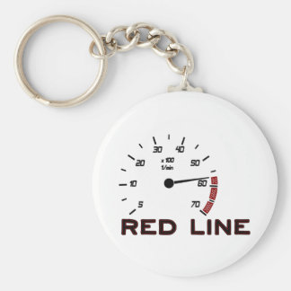 Cars and Driving - Red Line with Tachometer Basic Round Button Keychain