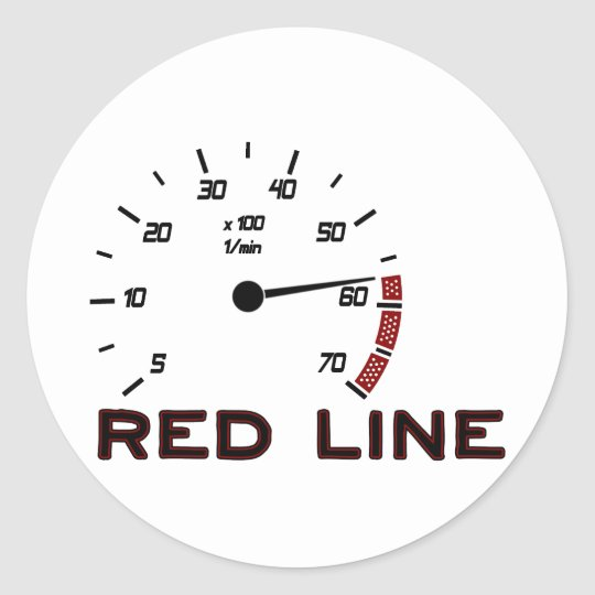 Cars and Driving - Red Line with Tachometer Classic Round Sticker