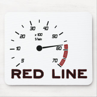 Cars and Driving - Red Line with Tachometer Mouse Pad