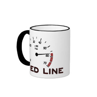 Cars and Driving - Red Line with Tachometer Ringer Coffee Mug