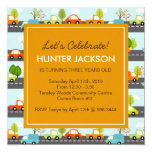 "Cars and Trucks Birthday Party Invitation 5.25"" Square Invitation Card"
