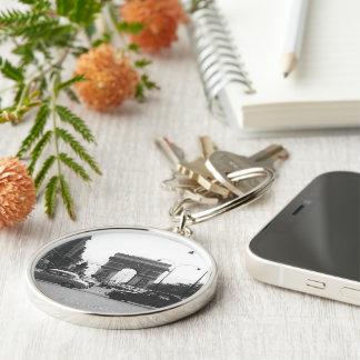Cars & Arch Black & White Premium Round Keychain