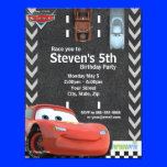 "Cars Birthday Invitation 4.25"" X 5.5"" Invitation Card"