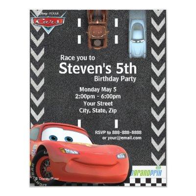 Cars Birthday Invitation 4.25