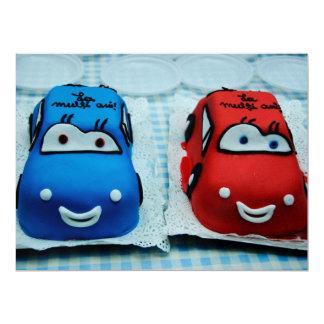 "Cars cakes 6.5"" x 8.75"" invitation card"
