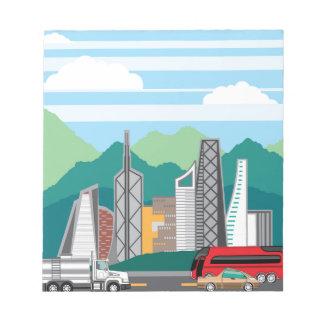 Cars city landscape notepad
