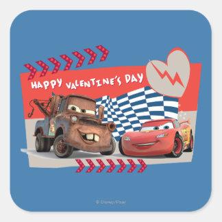 Cars Happy Valentine's Day Square Sticker