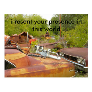 cars, i resent your presence in this world postcard