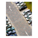 Cars in carpark postcard