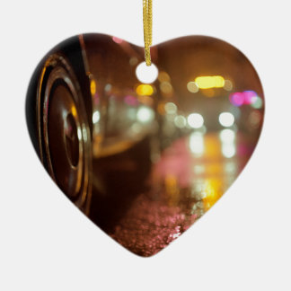 Cars in on urban street rainy night hasselblad med Double-Sided heart ceramic christmas ornament