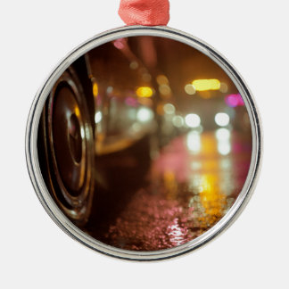 Cars in on urban street rainy night hasselblad med round metal christmas ornament