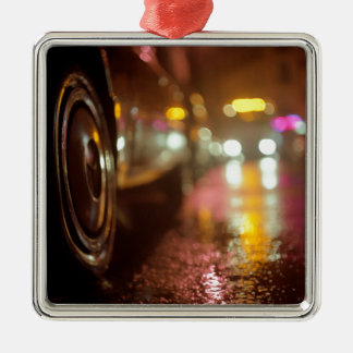 Cars in on urban street rainy night hasselblad med square metal christmas ornament