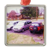 cars.JPG family cars in driveway Metal Ornament