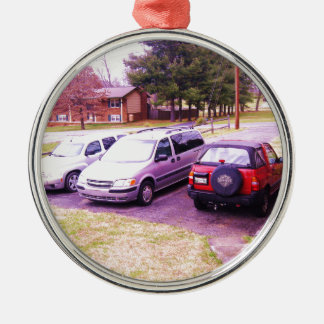 cars.JPG family cars in driveway Metal Ornament