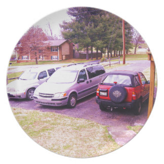 cars.JPG family cars in driveway Dinner Plate