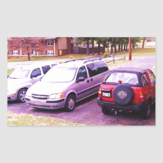 cars.JPG family cars in driveway Rectangular Sticker