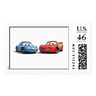 Cars Lighting McQueen and Sally Disney Postage Stamp