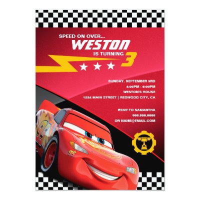 Cars Birthday Invitation – Disney Cars Birthday Cards
