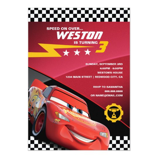 Cars Invitation Card Template Free: Cars Lightning McQueen