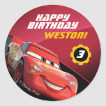Cars Lightning Mcqueen | Birthday Classic Round Sticker at Zazzle