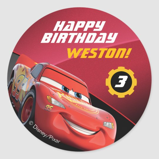 Cars lightning mcqueen birthday classic round sticker