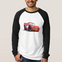 Men's Canvas Long Sleeve Raglan T-Shirt with Lightning McQueen Ka-CHOW! design