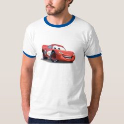 Men's Basic Ringer T-Shirt with Lightning McQueen Ka-CHOW! design