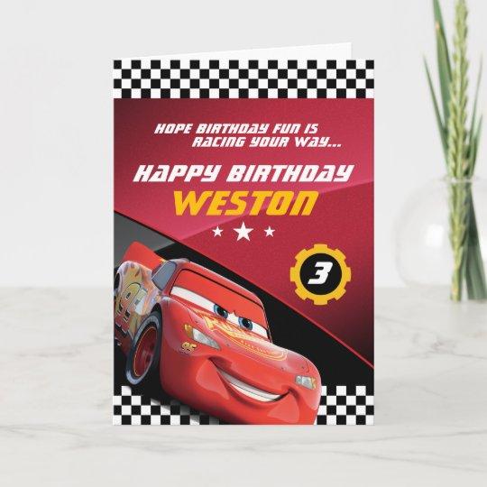 Cars Lightning Mcqueen Folded Birthday Card Zazzle
