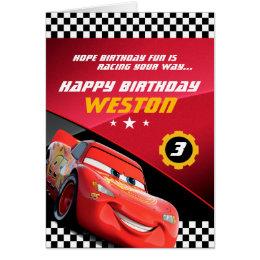 Cars Lightning McQueen   Folded Birthday Card