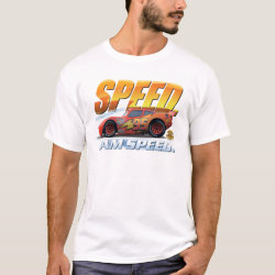 Men's Basic T-Shirt with Lightning McQueen: I Am SPEED design