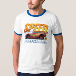 Men's Basic Ringer T-Shirt with Lightning McQueen: I Am SPEED design