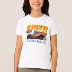 Girls' American Apparel Fine Jersey T-Shirt with Lightning McQueen: I Am SPEED design